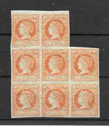 ESPAÑA ISABEL II ANS 1860-1861 BLOC DE 8 TIMBRES SUPERBE YVERT NR. 48 MNH VOIR SCANS UNIQUE EN DELCAMPE AVEC GOMME ORIGI - 1850-68 Kingdom: Isabella II