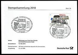 02696) BRD - Stempelkarte Michel 2551 - SoST Vom 16.05.2010 In 21682 HANSESTADT STADE, 100 J. KFZ-Kennzeichen Moped - [7] West-Duitsland