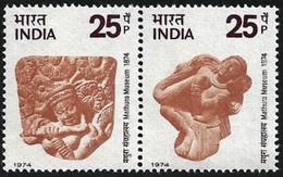 INDIA STAMPS, SETENANT PAIR, 1974, MATHURA MUSEUM, MNH - India
