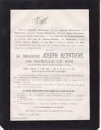 LIEZELE MALINES Isabelle LE BON Veuve Joseph REYNTIENS 73 Ans 1883 Famille DIERCXSENS Van Der STRATEN-PONTHOZ - Obituary Notices