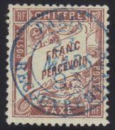 """Taxe N°25, 1 Fr. Marron, Oblitération Bleue """"Paris Recouvrement 1893"""". - 1859-1955 Oblitérés"""