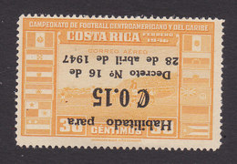 Costa Rica, Scott #C146, Mint Hinged, Soccer Field Surcharged, Issued 1947 - Costa Rica