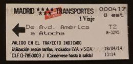 TICKET METRO MADRID. - Métro