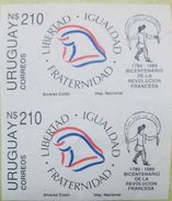 O) 1989 URUGUAY, IMPERFORATE, FRENCH REVOLUTION BICENTENNIAL FROM 1789, LIBERTY, MNH - Uruguay