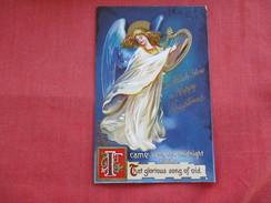 Embossed   Angel With Harp Happy Christmas >   ===ref 2802 - Angels
