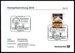 02712) BRD - Stempelkarte Michel 2819 - SoST Vom 19.09.2010 In 58675 HEMER, Tag Der Briefmnarke, Frachter MS ISERLOHN - [7] West-Duitsland