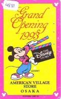 Télécarte JAPON * 110-138901 * DISNEY STORE (4881) PHONECARD JAPAN * Telefonkarte GRAND OPENING * TIRAGE 2.000 AMERICAN - Disney