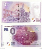 BILLET TOURISTIQUE ZERO EURO  TRAIN A VAPEUR DES CEVENNES  NEUF SUPERBE - EURO