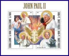 SIERRA LEONE 2017 MNH** Pope John Paul II. Papst Paul II. Pape John Paul II. M/S - OFFICIAL ISSUE - DH1801 - Päpste