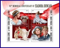 SIERRA LEONE 2017 MNH** Isadora Duncan Dancer Tänzerin Danseur M/S - OFFICIAL ISSUE - DH1801 - Musik