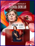 SIERRA LEONE 2017 MNH** Isadora Duncan Dancer Tänzerin Danseur S/S - OFFICIAL ISSUE - DH1801 - Musik