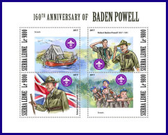 SIERRA LEONE 2017 MNH** Scouts Pfadfinder Robert Baden Powell M/S - IMPERFORATED - DH1801 - Pfadfinder-Bewegung