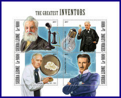 SIERRA LEONE 2017 MNH** Inventors Bell Fleming Edison Tesla M/S - IMPERFORATED - DH1801 - Wissenschaften