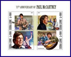 SIERRA LEONE 2017 MNH** 75th Birthday Paul McCartney Musik Music M/S - IMPERFORATED - DH1801 - Musik