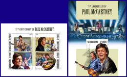 SIERRA LEONE 2017 MNH** 75th Birthday Paul McCartney Musik Music M/S+S/S - IMPERFORATED - DH1801 - Musik