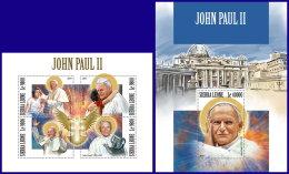 SIERRA LEONE 2017 MNH** Pope John Paul II. Papst Paul II. Pape John Paul II. M/S+S/S - IMPERFORATED - DH1801 - Päpste