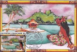 4 Cartes Max 04/12/96 Artistes Peintres De Polynésie Y&T 520/3 4 Scans - Storia Postale
