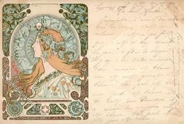 Mucha, Alfons Frau Jugendstil 1899 I-II (fleckig) Art Nouveau - Illustrators & Photographers