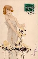 Kirchner, R. Frau Blumen Jugendstil  Künstlerkarte I-II Art Nouveau - Kirchner, Raphael