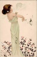 Kirchner, R. Frau Blumen Jugendstil Künstlerkarte I-II (fleckig) Art Nouveau - Kirchner, Raphael