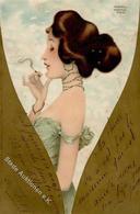 Kirchner, R. Frau Zigarette  Künstlerkarte I-II (fleckig) - Kirchner, Raphael
