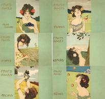 Kirchner, Raphael 6'er Serie Fruits Douces Künstler-Karten I- - Kirchner, Raphael
