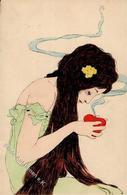 Kirchner, Raphael Jugendstil Frau Künstler-Karte I-II Art Nouveau - Kirchner, Raphael