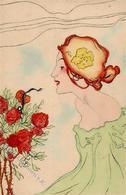 Kirchner, Raphael Jugendstil Frau Künstler-Karte I-II (Stauchung) Art Nouveau - Kirchner, Raphael