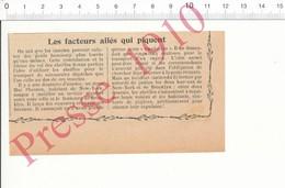 Presse 1910 Facteur Distribution Postale Du Courrier Express à Dos D'abeille Poste Restante New-York Abeilles 216PFE - Alte Papiere