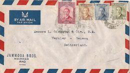 MARCOPHILIE LETTRE PAR AVION IRAQ BAGHDAD DE 1956  TP NO 184 185 189 ET 192 YT - Iraq