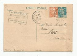 Sur Carte Postale , ENTIER POSTAL + Timbre , 8f , 1949 , Camares S/Dourdon , Aveyron , R. Frézard , Quincaillerie - Postal Stamped Stationery
