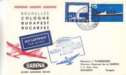 République Fédérale - Lettre De 1957 - 1er Vol Köln Budapest Bucarest - Cachet Aérodrome Budapest - Europa - Bateaux - BRD