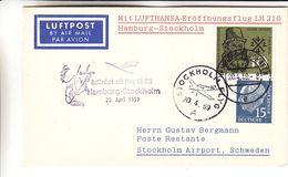 République Fédérale - Carte Postale De 1959 - Oblit Hamburg Flughafen - 1er Vol Hamburg Stockholm - Cachet De Stockholm - BRD