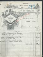 FACTURE ILLUSTRÉE DE 1914 J F PUYBARAUD HORLOGERIE BIJOUTERIE ORFÈVRERIE LUNETTERIE À LANGON : - France
