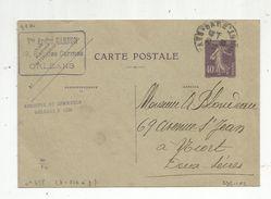 Sur Carte Postale , ENTIER POSTAL , 40c , 1929 , Vve André Garnon ,19rue Des Carmes , ORLEANS - Standard Postcards & Stamped On Demand (before 1995)