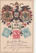 Carte En Relief Avec Des Timbres D'Allemagne,Belgique Et Pays Bas. - Allemagne