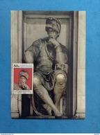 Cartolina Formato Grande Firenze Cappelle Medicee Michelangelo Buonarroti - Lorenzo De Medici - Con Francobollo Grenada - Sculture