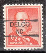USA Precancel Vorausentwertung Preo, Locals North Carolina, Delco 835,5 - Vereinigte Staaten
