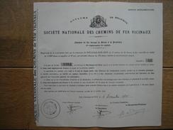 Action Souscrite En 1935 Par La Commune De ROCLENGE-SUR-GEER Pour Le CHEMIN DE FER VICINAL DE GLONS à La FRONTIERE - Chemin De Fer & Tramway