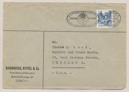 Schweiz - 1948 - 40 Cent Blue Freimarke On Business Cover From Zürich To Chicago - Cancel Radioausstellung - Briefe U. Dokumente