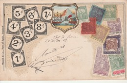 Carte En Relief Avec Timbres Postes De Trinidad. - Trinité & Tobago (1962-...)