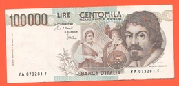 100.000 100000 Lire Caravaggio I° Tipo 1983 - [ 2] 1946-… : Républic