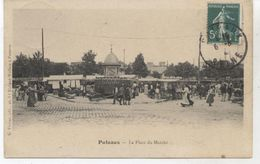 92..  PUTEAUX  LA PLACE DU MARCHE ET VESPASIENNE 1910  TTBE - Puteaux
