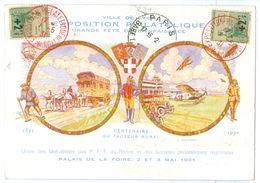 1931 France Lyon Grande Fete Expo Philatelique Poste Aerienne Regd.pc Orphelins+ 2 X1946 Propagande Vignette - Airmail