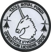 Escadron 13/3 De Gendarmerie  ROYAL PONDI  OPERATION LICORNE - Police
