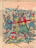 PROTEGE CAHIER- MAROC- LES TROUPES DU SULTAN LUTTENT CONTRE CELLES DU PRETENDANT-LA DJEMA- PACHA -CADI-MOKLASSEB-FEZ - Buvards, Protège-cahiers Illustrés