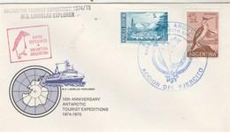 Lettre MS LINDBLAD Bahia Esperanza Antartida Argentina Base Del Fjercito - Animaux Oiseaux - Timbres