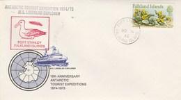 Lettre MS LINDBLAD  Port Stanley Falkland Islands - Fleurs - Timbres