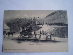 Suisse (VS)  Furka // Passhöhe - Hotel, Pferdepost Poste De La Furka. Diligence, Kütsche. Used 1904 - VS Valais