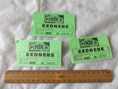 Ticket Vert Exonéré Cirque Pinder Jean Richard - Biglietti D'ingresso